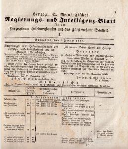 Erste Ausgabe des Blattes von 1848