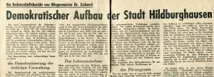 Hermann Zschaeck Dez. 1945 Thüringer Volkszeitung Frau Zschaeck