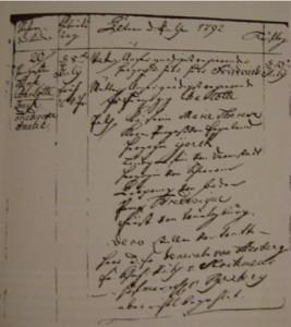 Eintrag von Geburt und Taufe der Prinzessin Therese